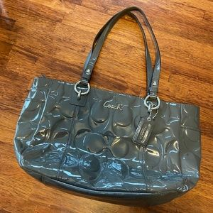 Coach Patent Leather Signature Grey Tote